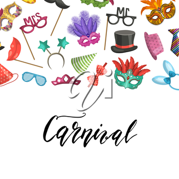 Vector banner poster background with place for text with masks and party accessories illustration