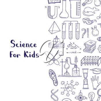 Vector sketched science or chemistry elements background with lettering and place for text illustration