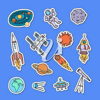 Vector hand drawn space elements stickers set illustration isolated on background