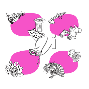 Vector set of stickers with place for text with doodle theatre elements illustration