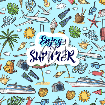 Vector colored hand drawn summer travel elements background pattern with place for text illustration