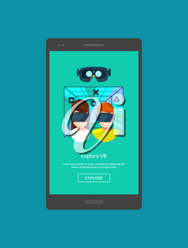 Vector mobile phone screen template with flat style virtual reality elements illustration