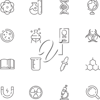 Science icon. Chemical laboratory equipment chemicals structure scientific lab vector thin symbols. Illustration of equipment for experiment, magnet and instrument illustration