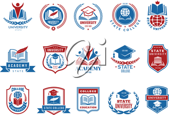 College emblem. School or university badges and labels vector logotype collection. School emblem, college badge and university label with shield illustration