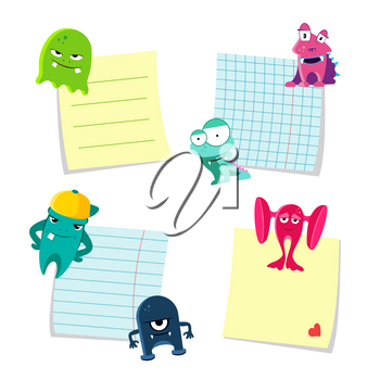Vector small notes with shadows set kept by cute monsters isolated on white background. Illustration of monsters with notes paper