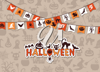 Vector halloween background with garlands and creepy ghosts and witches silhouettes illustration