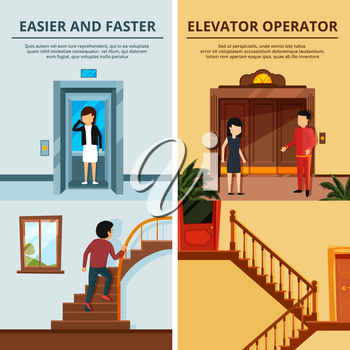 Banners set of different modern stairs and elevators. Hall of motel with wood lift. Elevator lift door, stair and staircase, vector illustration