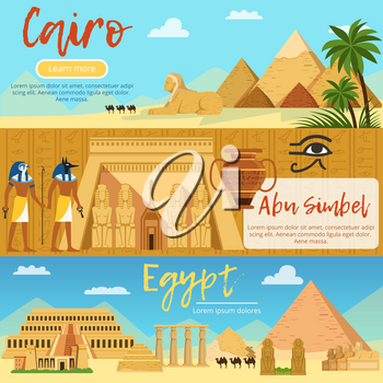 Horizontal banners of egypt landscape. Vector pictures set in cartoon style. Africa vacation and travel, egypt tourism poster illustration