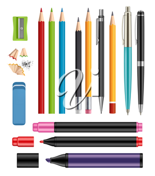 Pen and pencils. Office stationery school colored items of education help vector 3d realistic collection of plastic pen wooden pencils. Illustration of school pencil, stationery pen, marker colored