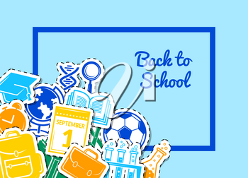 Vector back to school stationery background illustration. Colored poster banner