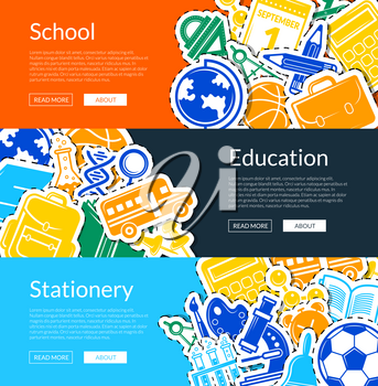 Vector back to school stationery web banner templates illustration. Education banner, back school, stationery tools and microscope