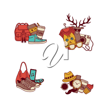Vector hipster doodle icons of set illustration isolated on white. New fashion sketch elements