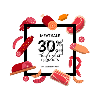 Vector flat meat and sausages icons flying around frame with text illustration
