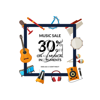 Vector cartoon musical instruments flying around frame with place for text illustration