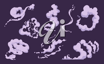 Comic smoke. Cartoon smell explosion vfx clouds of wind vector set. Smoke cloud and fog steam effect, motion vapor illustration