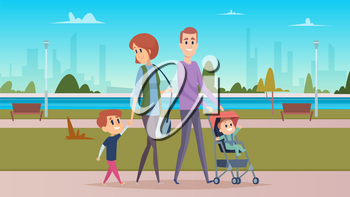 Family walk in city park. Happy parenthood, cute cartoon babies. Mother, father and sons vector character. City park recreation, family outdoor illustration
