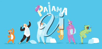 Pyjamas people. Funny characters kids female and male in cute night clothes colored costumes vector pyjamas textile. Illustration pajama party, costume funny, animal unicorn and panda