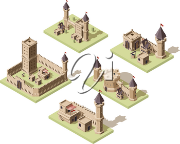 Castles low poly. Video game isometric assets medieval buildings from old rocks and bricks 3d houses vector old fort. Castle medieval architecture, stronghold building kingdom illustration