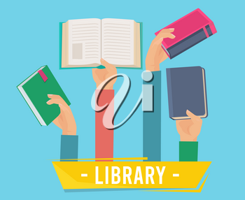 Hands with books. Library persons holding opening books vector concept of learning vector set. Library badge for education and rea in university illustration