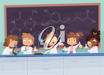 Chemistry lab. Science boy and girls teenager learning research processes vector characters cartoon background. Chemistry lab science, illustration scientist gir and boy