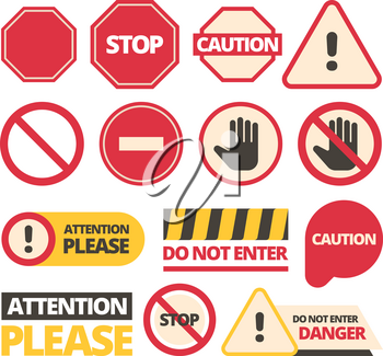 Attention signs. Stop walking and of route dont disturb help signals vector admittance signboards collection. Attention and danger, safety and warning stop icon, restriction symbol illustration