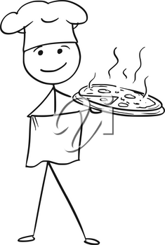 Cartoon vector stick man stickman drawing of male cook chef in chefs hat holding plate tray with pizza.