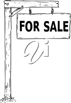 Vector drawing of hanging wooden sign board with  business text for sale.