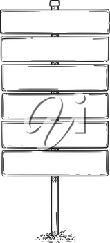 Vector drawing of six empty blank sign boards