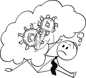 Cartoon stick man drawing conceptual illustration of businessman who is overburdened and buried by large text speech bubble as metaphor for big problem he is thinking about.