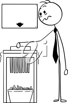 Cartoon stick man drawing conceptual illustration of businessman using office paper shredder with empty or blank sign for funny text above.