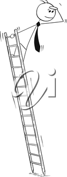Cartoon stick man drawing conceptual illustration of businessman on ladder looking forward, or searching for future or for challenges.