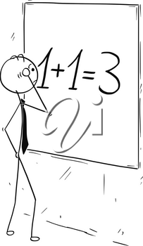 Cartoon stick man concept drawing illustration of businessman looking and calculating on wall board.Concept of business synergy.