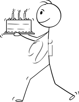 Cartoon stick man drawing conceptual illustration of businessman walking and carry birthday cake.