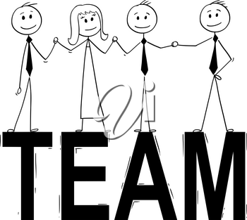 Cartoon stick man drawing conceptual illustration of group of businessman people standing on big word team. Business concept of teamwork, success and cooperation.