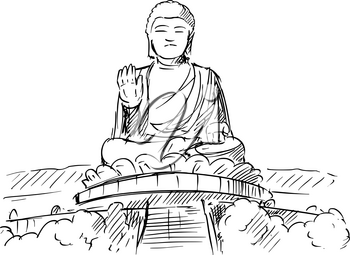 Cartoon sketch drawing illustration of Tian Tan or Big Buddha statue, Ngong Ping, Lantau Island, Hong Kong.