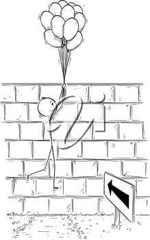 Cartoon stick man drawing conceptual illustration of businessman holding bunch of inflatable balls or air balloons and flying over wall. Business concept of problem, obstacle and solution.
