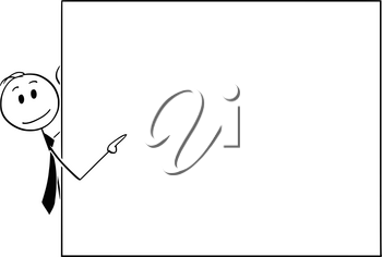 Cartoon stick man drawing conceptual illustration of businessman peeping from behind of empty sign and pointing. Usable as empty sign.