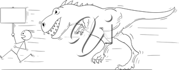Cartoon stick man drawing conceptual illustration of businessman running away from tyrannosaurus or godzilla like dinosaur monster creature with empty r blank sign in hand.