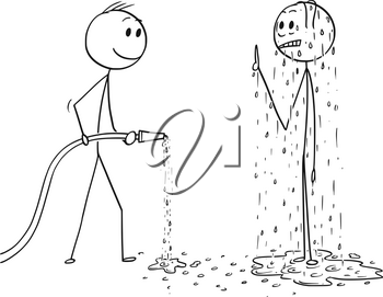 Cartoon stick drawing conceptual illustration of surprised wet or drenched man and another man holding water hose.