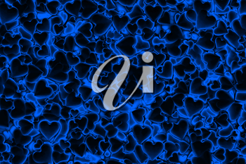 Valentine's Day abstract 3D background pattern with dark radiant, glowing and shining blue hearts.