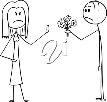 Vector cartoon stick figure drawing conceptual illustration of angry woman rejecting love declaration and bunch of flowers from man in love.