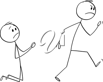 Vector cartoon stick figure drawing conceptual illustration of angry customer or worker walking away and kneeling man begging him to don't leave.