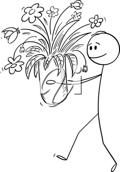 Vector cartoon stick figure drawing conceptual illustration of man walking and carrying or holding big vase of blooming flowers.
