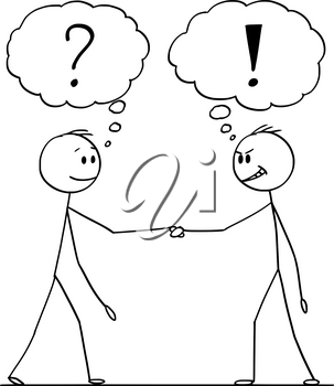 Cartoon stick figure drawing conceptual illustration of two men or businessmen or politicians handshaking with question and exclamation marks above.