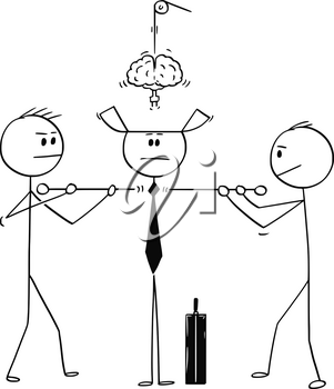 Cartoon stick figure drawing conceptual illustration of two technicians constructing or assembling together businessman or politician from parts.