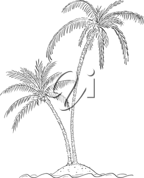 Vector cartoon illustration or drawing of two palm trees growing on small island in center of ocean.