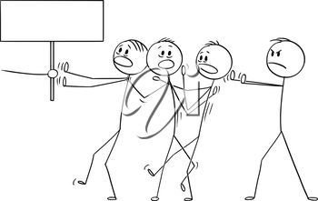 Vector cartoon stick figure drawing conceptual illustration of man or businessman or manager forcing rest of the team to do something or go somewhere. Hand with empty sign.