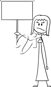 Vector cartoon stick figure drawing conceptual illustration of angry woman or businesswoman holding empty or blank sign ready for your text.