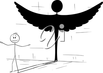 Cartoon stick figure drawing conceptual illustration of good man or person casting shadow in shape of angel. Metaphor or true personality hidden inside.