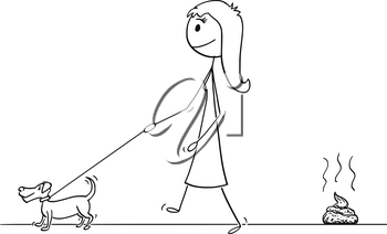 Cartoon stick drawing conceptual illustration of woman walking with small dog on a leash leaving excrement or poop on the ground.